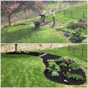 Mulch Installation - Before & After in River Glen, Fishers 46038